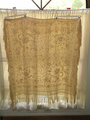 """Old Embroidered Tablecloth with Fringe 37"""" x 41"""" + Fringe"""