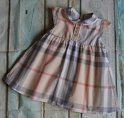 Baby Girls Burberry Checked Lined Summer Dress 6 Months Very Good Condition