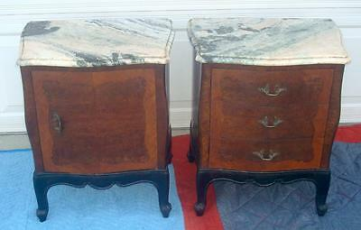 His And Hers French / French Provincial Pair Of 2  Night Stands With Marble Tops