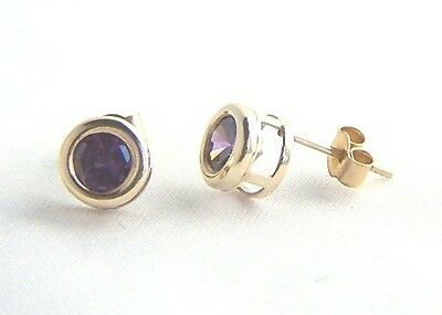 Ladies Classic 9ct GOLD 5mm Small ROUND RUBSET AMETHYST STUDS EARRINGS GIFT BOX