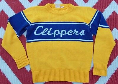Vintage spirit by Logan L sweater CLIPPERS  yellow blue white crew neck