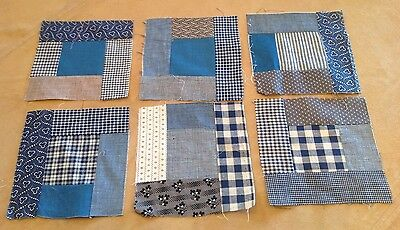 Six Antique Patchwork Quilt Blocks, Logs, Center Square, Early Fabrics, Blue
