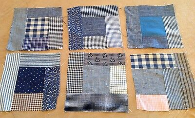 Six Antique Patchwork Quilt Blocks, Logs, Center Square, Early Fabrics, Navy