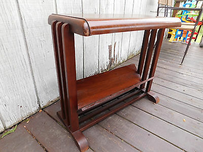 Art Deco antique waterfall nightstand end table magazine rack vintage old wooden