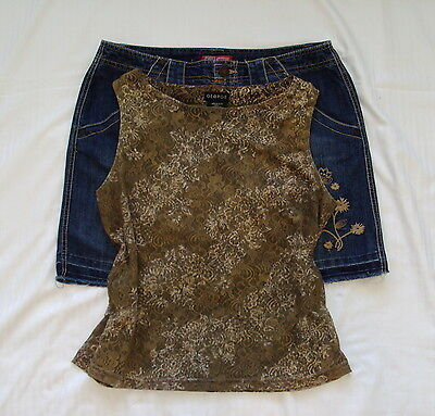 Women's Outfit 2 Pc Lot George Top M (8/10) Faded Glory Jean Skort Skirt 10