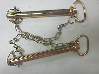 """~ 2 ~ Tractor Trailer 3/4"""" X 7-3/8"""" Hitch Pin Chain Clip Lynch Receiver Tow Lock"""