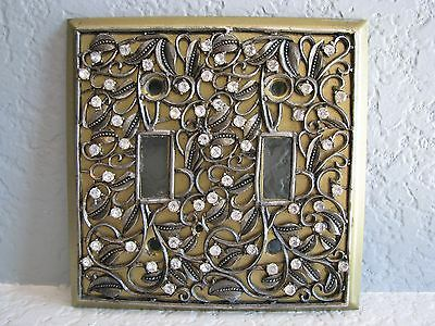 True Vintage Crystal Embellished Electrical Double Light Switch Wall Plate Cover