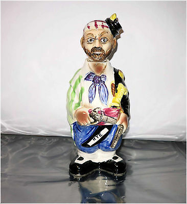 """Vintage 60's Fred Roberts Co., RYE, Porcelain Pirate Liquor Decanter, 12"""" tall"""