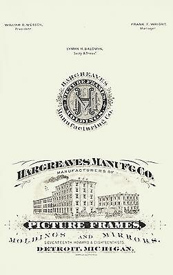 1883 Hargreaves Mfgr Company, Detroit, Michigan Picture Frames Lithograph Ad