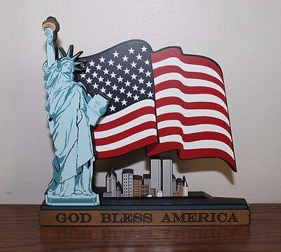 Sheila's We Remember 9/11 GOD BLESS AMERICA Statue Of Liberty NYC Flag Figurine