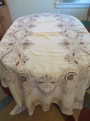 Fabulous Vtg Antique Chee Foo Embroidered Lace LINEN Banquet Tablecloth 100 X66