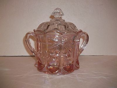 Stunning Westmoreland Pink Carnival Glass Cherry Panel Thumbprint Cookie Jar