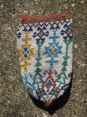 OLD NATIVE AMERICAN BEAD PURSE CIRC 1920S or OLDER
