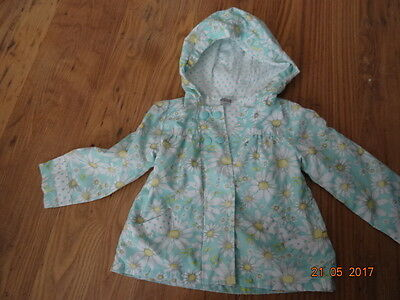 GIRLS GREEN AND WHITE SUMMER JACKET age 18 - 24 months IN VGC