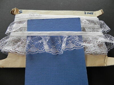 Card of New Gathered Lace - White and Silver