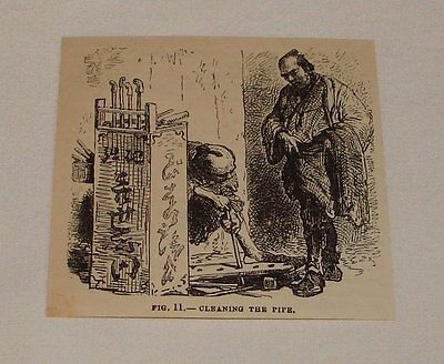 1879 magazine engraving ~ CLEANING THE PIPE, Japan