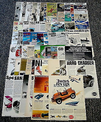 COX Model Plane+Slot Car Ad Collection~ LOT of 65 ads ~Jim HALL, F-1 trainer...