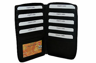 Credit Card Holder Tall Wallet With Zipper New Black Rare Great Gift Idea