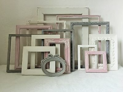 French Vintage/Shabby Chic Open Picture/Photo Frame Collection Pink/Grey/White