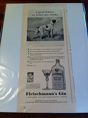 Vintage 1940 Fleischmann's Gin Pointer Bird Dog Print ad