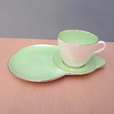 Vintage Maling Green And Pearl Lustre Tennis Set - Cup And Saucer