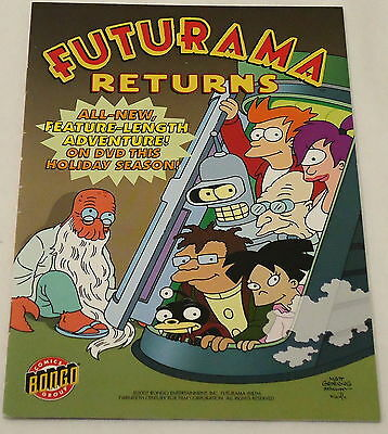2007 FUTURAMA RETURNS Bongo ashcan comic