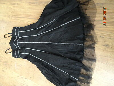WOMEN'S BLACK KNEE LENGHT DRESS WITH WHITE STITCHING size 10 IN VGC