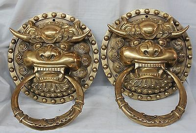 China Dynasty palace Pure Brass Iion Foo Fu Dog Statue Door knocker Pair