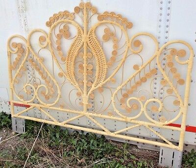 Headboard Vintage Rattan Peacock Bed frame Woven Wicker mid century retro