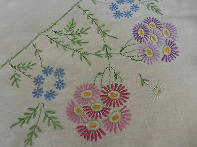large hand embroidered Irish Linen tablecloth, loads of daisies