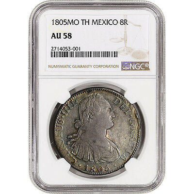 1805 Mo TH Mexico Silver 8 Reales - NGC AU58