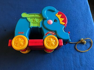 vintage Fisher Price Peek a blocks Poppity Pop Elephant circus  musical pull toy