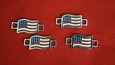 2 Pair Red Wing Shoe Co. American Flag Boot Lace Keepers Charms New NWOT