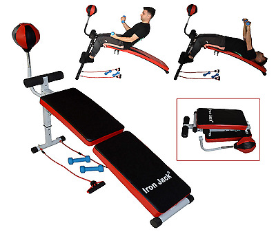 adjustable Incline Curved Abs Bench with Dumbbells Resistance bands & speedball