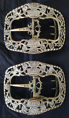 Antique Pair of 18th Century SHOE BUCKLES Metal Silver Brass Bronze Fastners