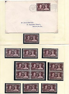 GVI 1937 Collection of Coronation stamps SG 461 Mint & used + FDC Cover to Malta