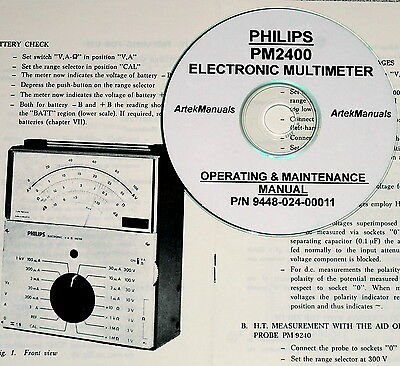 Philips PM2400 Multimeter Operating Manual with Schematic
