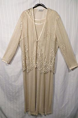 Mother of the Bride Beige Gold Threads Dress and Lace Jacket  Sz. 2X