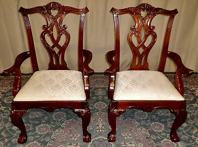 STANLEY CHIPPENDALE DINING ARM CHAIRS Mahogany Carved Upholstered  VINTAGE PAIR
