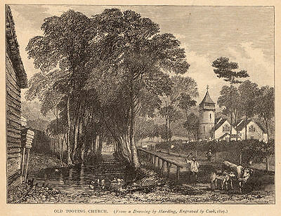 Greater London, old Tooting Church, 1890s antique engraving ready mounted SUPERB