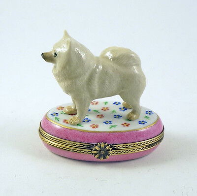 New Authentic French Limoges Trinket Box Cute Samoyed Dog Puppy On Flowers