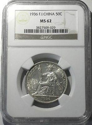 1936 FRENCH INDO-CHINA 50 CENTS, NGC GRADED at MS-62