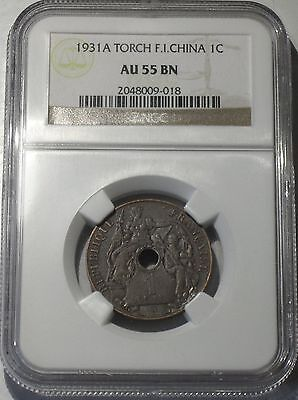 1931-A TORCH F.I.-CHINA 1 CENT, NGC GRADED at AU-55 BROWN