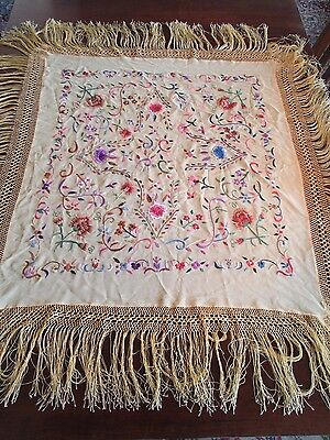 """Hand Embroidered Gold Silk Piano Scarf/Tablecloth 41"""" Vintage Outstanding"""