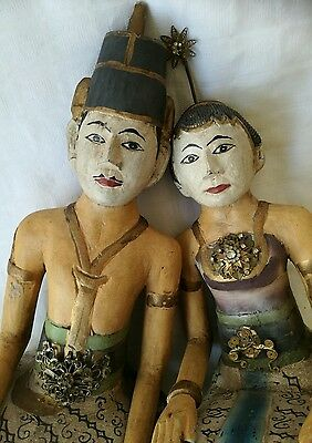 Lovely Interesting pair of carved wood Figurines Asian
