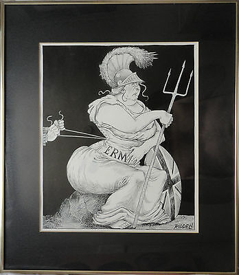 Chris Riddell Signed Pen & Ink Drawing of Britannia