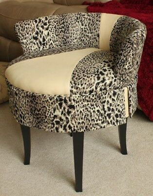 VINTAGE UPHOLSTERED SWiVEL VANITY CHAIR LEOPARD PRINT LEATHER