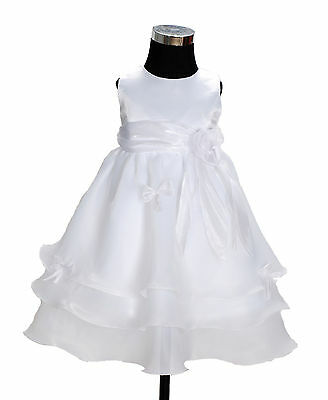 New Baby Girls White Christening Party Pageant Dress 12-18 Months