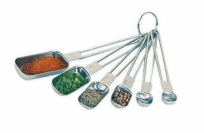 Fox Run Kitchen 6 Piece Stainless Steel Rectangular Measuring Spoon Set Bakeware