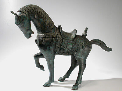 """Chinese Export Bronze Horse Sculpture Vintage - 23"""" Tang Style  Statue"""